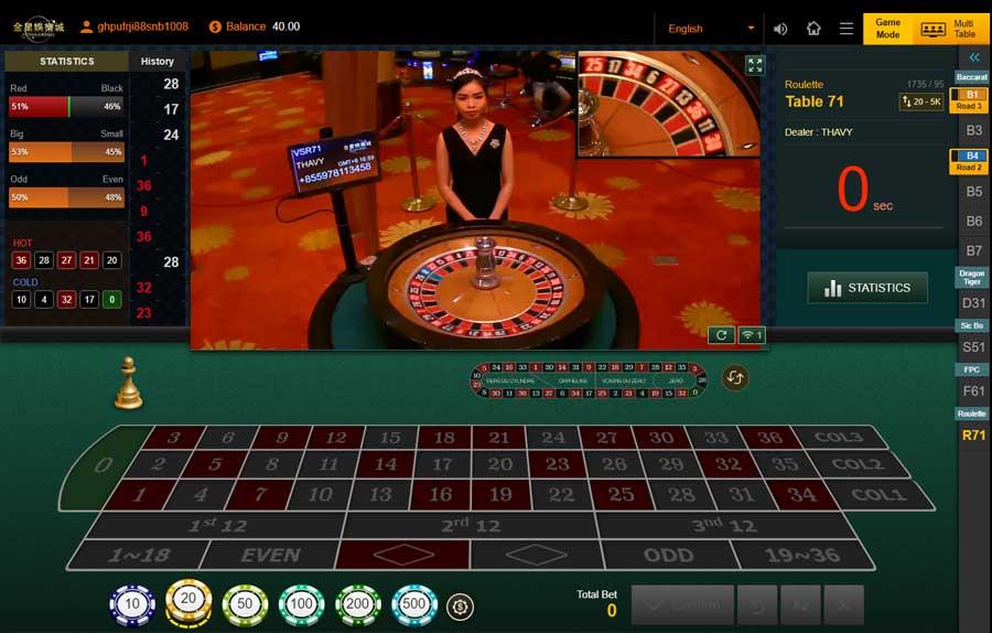 รูเล็ต Roulette คาสิโนออนไลน์ Venus Casino