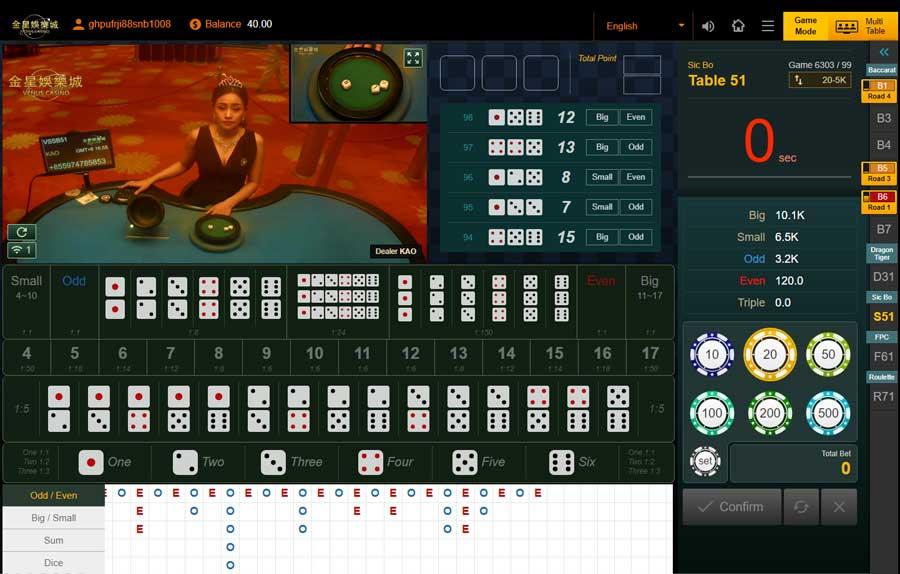 ไฮโล Sicbo คาสิโนออนไลน์ Venus Casino
