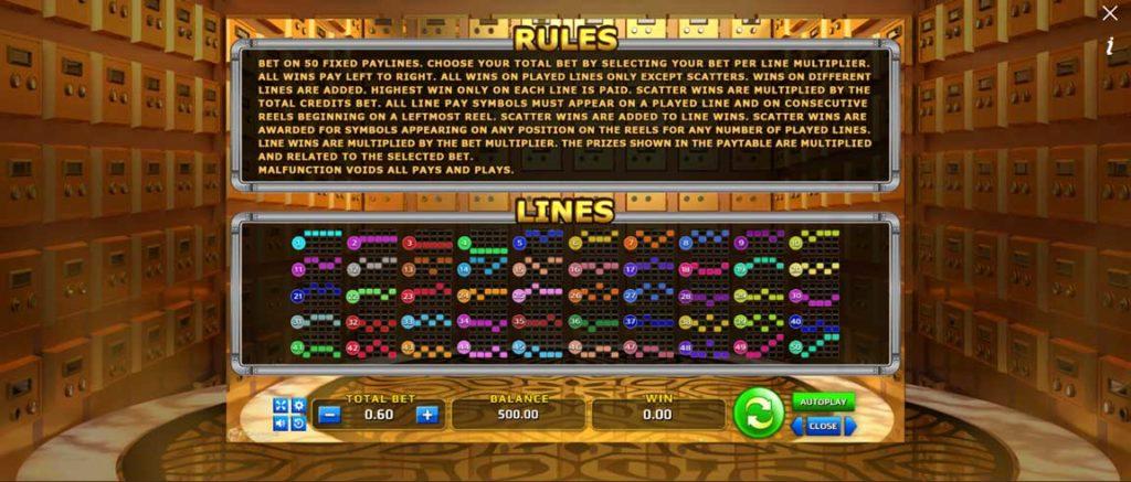 Money Vault มีรูปแบบการเอาชนะ หรือ Payline ทั้งหมด 50 เพย์ไลน์