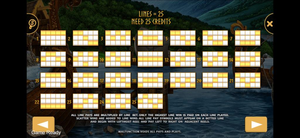 Viking Slot online มี 25 Pay lines
